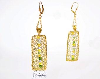 Elegant, geometric, earrings, brass, Swarovski, brass and Swarovski earrings