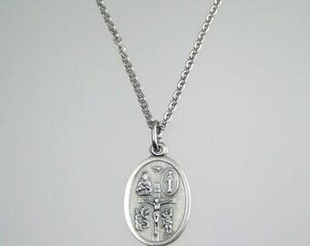Five Way Cross Medal Necklace