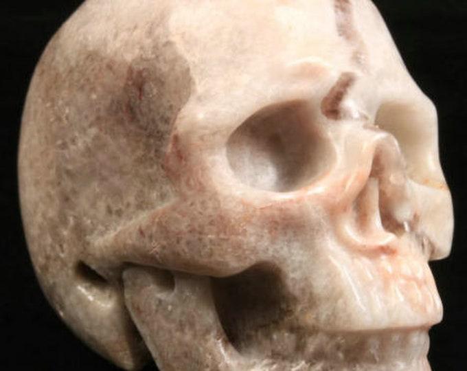 Chevron Amethyst Carved Skull  #074