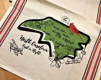 North Carolina State Map Kitchen/Tea Towel
