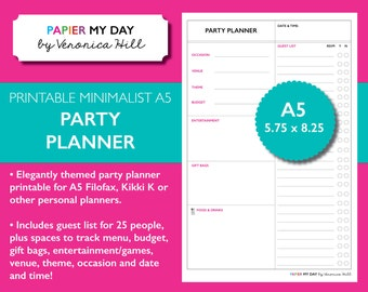 A5 Filofax Party Planner Insert - Printable Party Planner for Filofax A5, Kikki K Large and Kikki K Personal - A5 Event Planner Printables