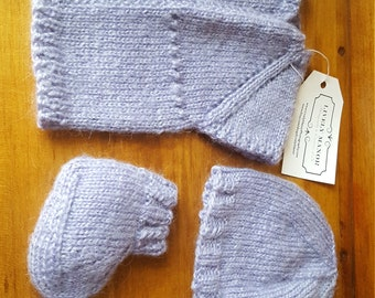 Lavender Knit Baby Sweater Outfit
