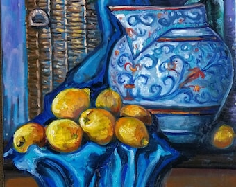 "Original Oil painting, Still Life-with Lemons on Blue Cloth,28""x22"", 1803152"