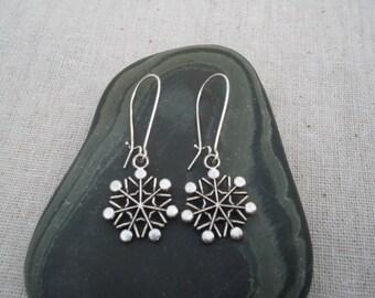 Silver Snowflake Earrings - Silver Snowflake Jewelry - Winter Holiday Jewelry - Festive Earrings