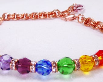 Rainbow Beaded Copper Rhinestone Spacers Chainmaille Bracelet, Crystal Rainbow Bracelet, Copper Beaded Bracelet, Rainbow Bracelet