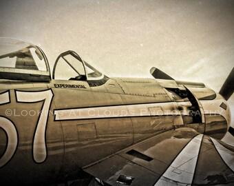 Corsair airplane art, F2G, vintage aircraft aviation photography,  pilot gift, sepia photo