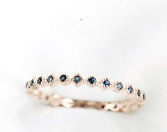Sapphire Eternity Band, Stacking Ring, Dainty Ring, Art Deco Ring, Thin Ring, Gemstone Ring, Boho Ring, Rose Gold Ring, Rose and Choc