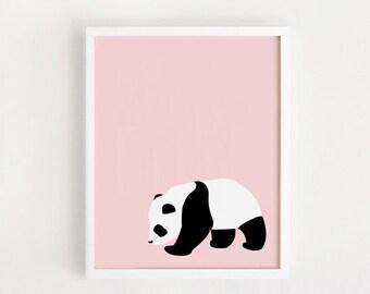 INSTANT DOWNLOAD - Panda printable Wall art Cute Home decor poster Kawaii Baby girls room art bebe nursery Pink print 8x10, 70x100 Large