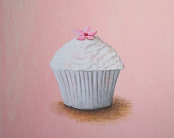Cupcake Art, Kitchen Art, White Cupcake Print 8x8