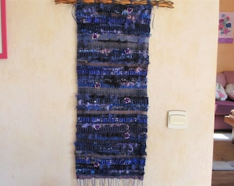 "Woven wall hanging ""The blue purple"", weaving, wall art textile"