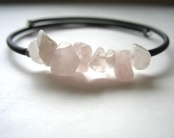 Rose Quartz Bracelet, Pink Rose Quartz Stone Cuff Bracelet ,Handmade Artisan Bracelet Jewelry, Rose quartz Bracelet, Pink