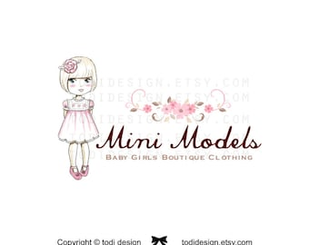 OOAK Character Illustrated Premade Logo design and Business card design- Mini Models- Girls Boutique Clothing -