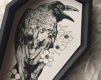 Original Pen and Ink Raven Coffin