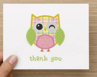 Baby thank you card: Personally designed baby girl baby shower thank you card!  Baby owl.  Multiple pack sizes available.