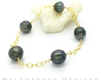 Tahitian Pearl link bracelet ~ 14k gold filled ~ Black Pearls