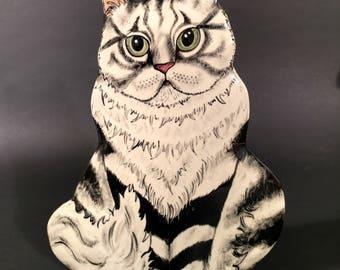 Bailey Cat Vase Silver shaded Persian by Nina Lyman