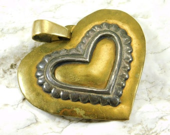 Large Brass Sterling Heart Pendant Jeep Collins Jewelry
