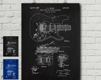 Guitar blueprint etsy fender stratocaster patent request print guitar electric gibson les paul vintage malvernweather Gallery