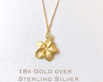 Sale! Gold over Sterling Silver plumeria necklace, Plumeria necklace, Hawaiian necklace, Plumeria jewelry, Flower necklace,Bridesmaid gift
