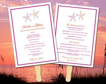 "Beach Wedding Program Fan Template - Ceremony Program ""Lazy Starfish"" Fuchsia Orange Instant Download Printable - DIY Wedding Program"