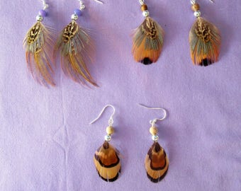 Clearance - Three pairs of pheasant feather earrings  - 130