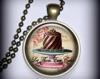Let Them Eat Cake Pendant, Marie Antionette Pendant Charm, Resin Necklace, Necklace Pendant (p122)