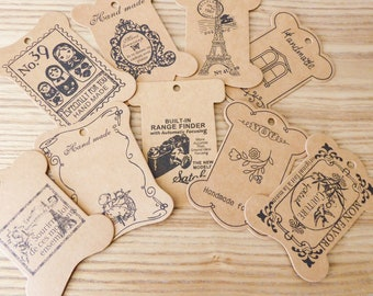 Set of 9 tags, vintage style