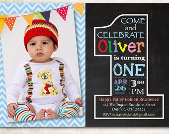 Second birthday invitation chalkboard 2nd birthday invite chalkboard first birthday invitation 1st birthday invite with photo chevron baby boy or girl filmwisefo Images