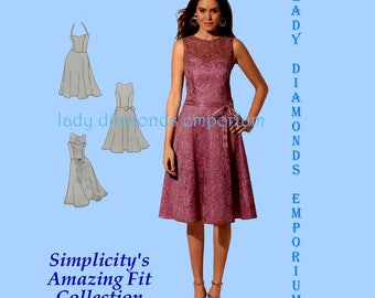Simplicity 1606 Womens Dress Circle Skirt Halter Option + Bra Cup Sizes sz 4 6 8 10 12 or 14 16 18 20 22 Amazing Fit Sewing Pattern Uncut FF