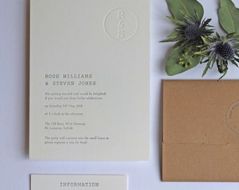 Retro Stamp Letterpress Wedding Invitation Sample Card