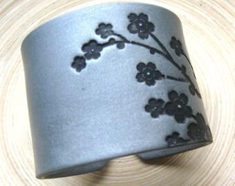 SALE Silver Cuff Bracelet Asian Floral Blossoms Design, Handmade Cuff Bracelets
