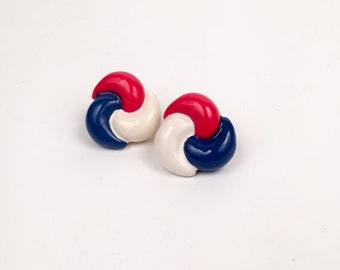 Vintage Red White and Blue Painted Metal Clip On Knot Earrings