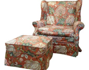 1970's Vintage Floral Chintz Wingback and Ottoman