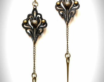 Victorian Punk Leather Earrings - lasercut leather and bronze - long earrings - dangle, chain and spike - boho tribal festie earrings