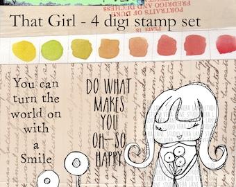 That Girl! Whisical girl digi stamp set - 4 images