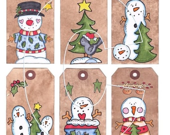 Christmas Hang Tags Instantly Downloadable You print on white cardstock ~ PDF and JPEG Sheet of Tags ~ Personal and Gift Use ~ Digital