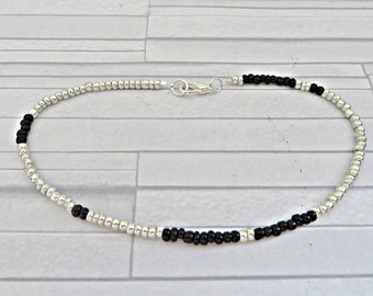 Silver bead anklet, Black bead anklet, Silver & black bead anklet, Silver bead ankle bracelet, Silver seed bead anklet, Seed bead anklet
