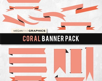 """Banner clipart set -  """"CORAL BANNERS"""" Digital clipart pack (includes 15 unique banners)"""