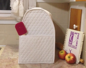 White Mixer Cover with Pocket or Food Processor Cover for White Kitchen Home Decor Ready to Ship