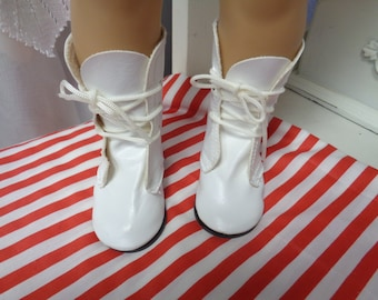 White-Leather look Doll Boots-Vintage Shoes-82mm