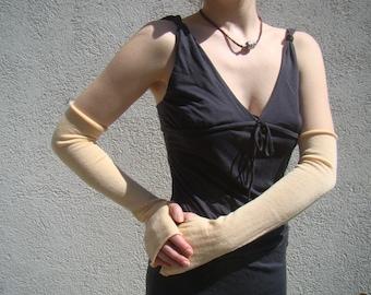 Bridal Gloves Arm Warmers Simple Jersey Mittens Evening Merino Fingerless Gloves Cream Mitaines Armstulpen