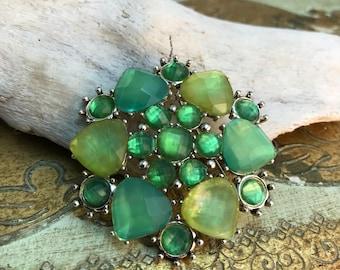 Green Art Glass Brooch