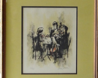 Signed and numbered lithograph of a Three Man Orchestra