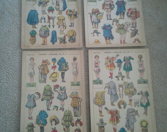 Antique French paper Doll cut-outs  Poupees A habiller  No. 1 through 4