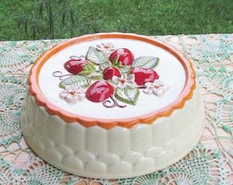 Strawberry Kitchen Decor   Vintage Ceramic Centerpiece