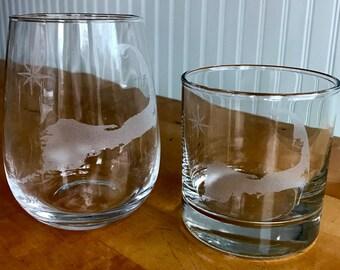 Cape Cod Map Rocks & Stemless Wine Glasses