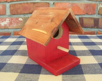 Cedar Birdhouse - Red - Small, Decorative, Indoor Outdoor Birdhouse, Porch, Patio, Garden