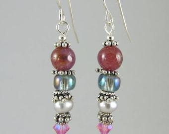 FREE SHIP ruby and sterling earrings earrings