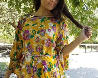 Mimosa, womens clothing, womens tops, bohemian, hippie, caftan, silky,