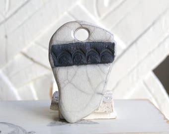 Ceramic Raku pendant, white, 1 X